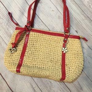 BRIGHTON Straw Pink Leather Shoulder Bag w/ Flower